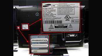 Vous retrouverez le numéro de série de votre télé sur une étiquette à l'arrière de celle-ci